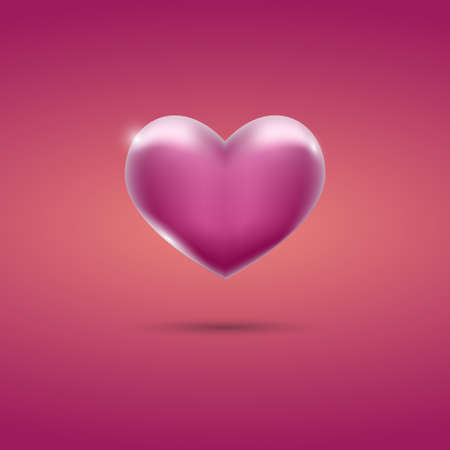 Glowing pink heart on pink background Illustration