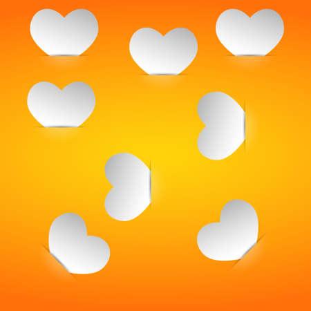 Valentine cards in the pockets on an orange background Illustration