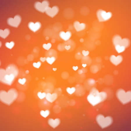 Abstract Hearts for Valentines Day on orange background