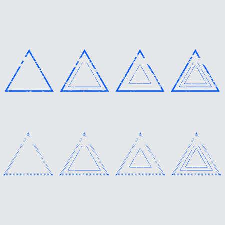 Set of empty triangular stamps