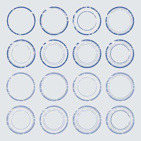 Set of empty round stamps