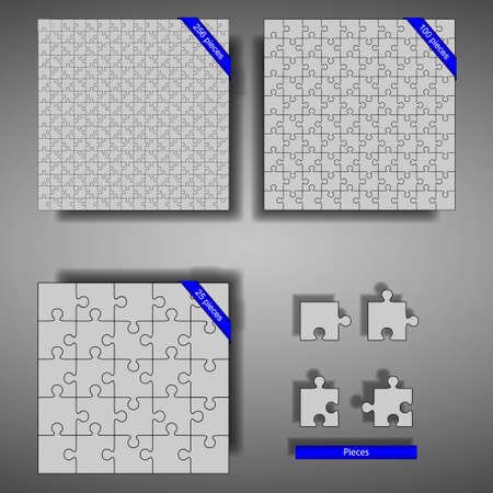 Puzzles of 256, 100, and 25 parts with pieces and shadow Illustration