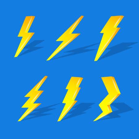3D lightning on blue background Illustration