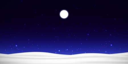 Vector night sky with moon, stars and snow
