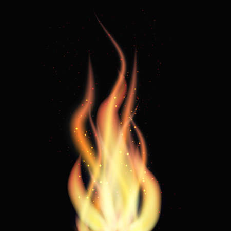 Flame with particles on black background