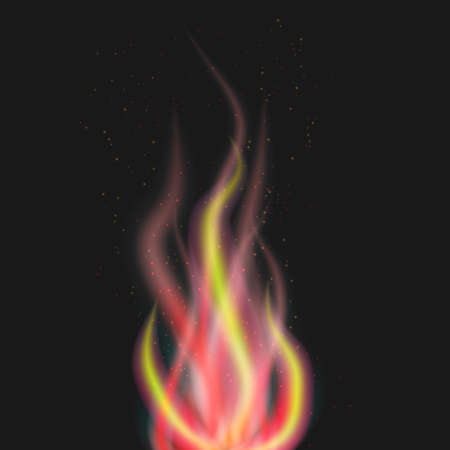 Abstract flame with particles on black background Illustration