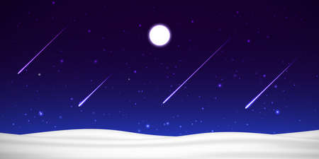Vector night sky with moon, shooting stars and snow