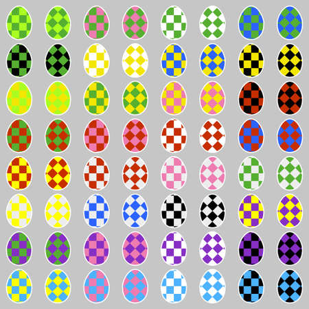 Easter eggs icons with squares