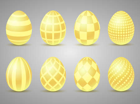 Easter gold eggs icons. Eggs for Easter holidays