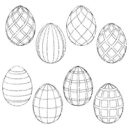 Sketches handmade Easter eggs for coloring. Vector illustration