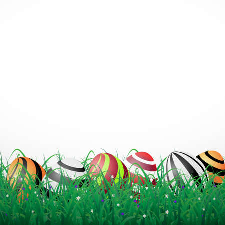 Easter eggs with lines in grass on a white shining background with flowers Illustration