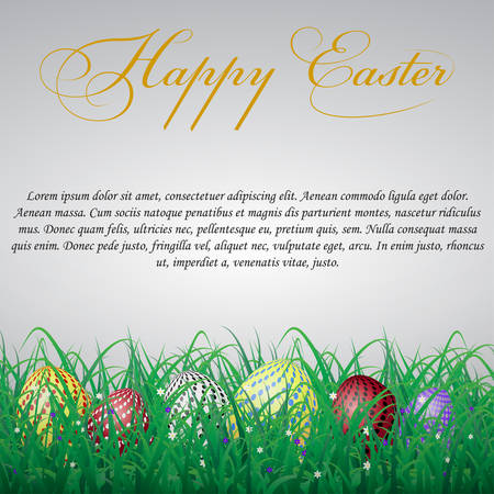 Easter eggs with circles in grass on a white shining background with flowers. With text