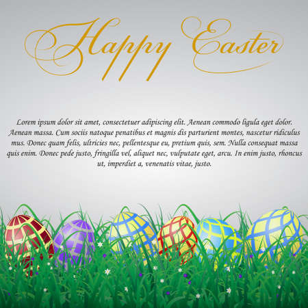 Easter eggs with mesh in grass on a white shining background with flowers. With text Illustration