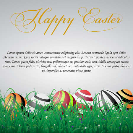Easter eggs with lines in grass on a white shining background with flowers. With text