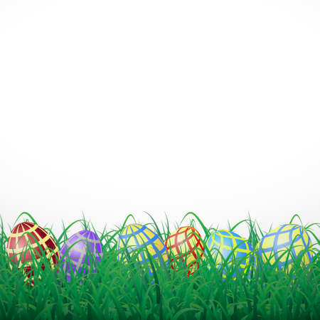 Easter eggs with mesh in grass on a white shining background