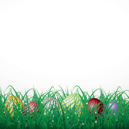 Easter eggs with circles in grass on a white shining background with flowers
