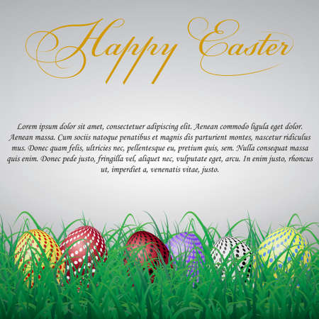 Easter eggs with circles in grass on a white shining background. With text Illustration
