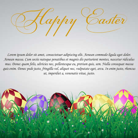 Easter eggs with squares in grass on a white shining background with flowers. With text Illustration