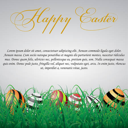 Easter eggs with lines in grass on a white shining background. With text Illustration