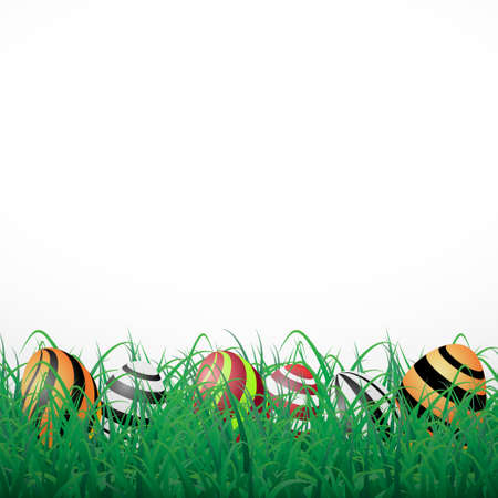 Easter eggs with lines in grass on a white shining background