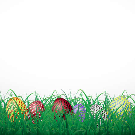 Easter eggs with circles in grass on a white shining background
