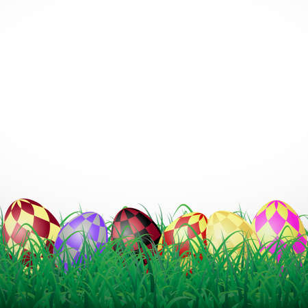 Easter eggs with squares in grass on a white shining background Illustration