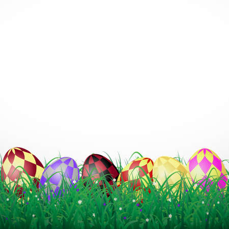 Easter eggs with squares in grass on a white shining background with flowers Illustration