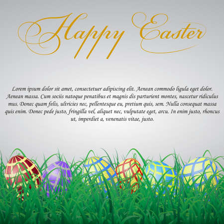 Easter eggs with mesh in grass on a white shining background. With text