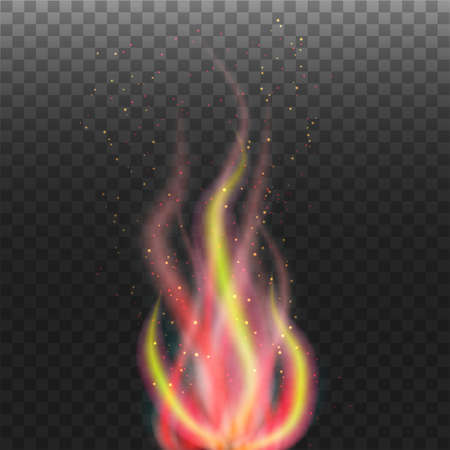 Abstract flame with particles on transparent background Illustration