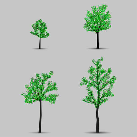 Set of vector trees black silhouettes with leaves Illustration