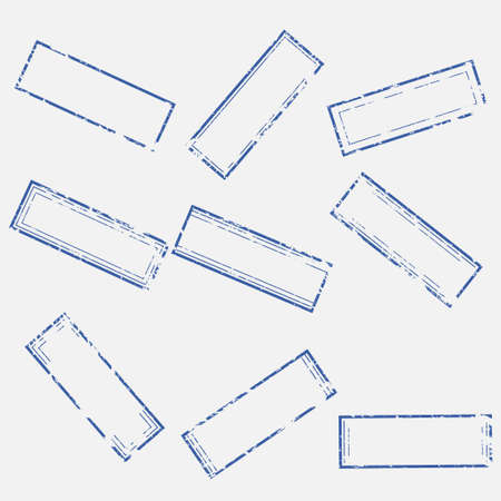 A set of empty rectangular stamps