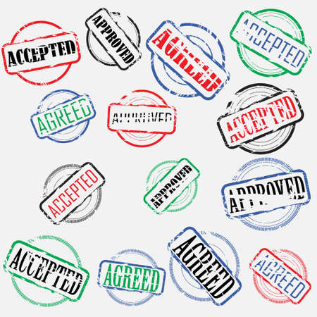 Set of colored empty round stamps with rectangular frames and text Illustration
