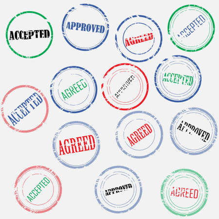 Set of colored empty round stamps with text