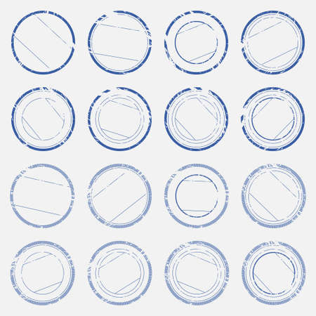 A set of empty stamps with lines