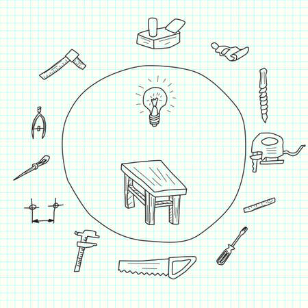 Sketch of tools for furniture construction on a sheet of school
