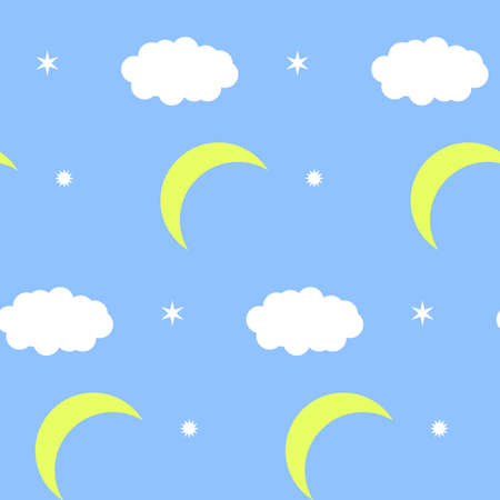 Pattern with moon clouds and stars