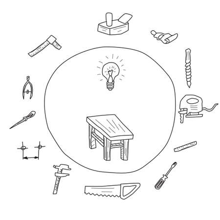 Sketch of tools for furniture construction on white background.  イラスト・ベクター素材