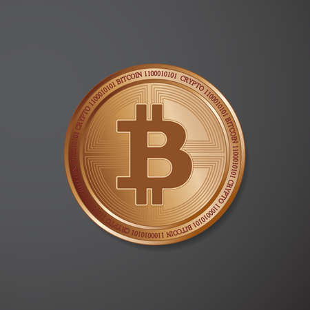 Golden bitcoin on black background