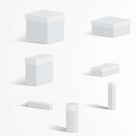 A set of white boxes with lids on a light background  イラスト・ベクター素材