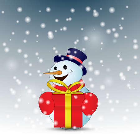Positive cartoon snowman with red gift box with snow. Vector illustration