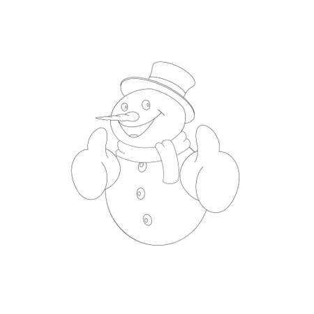 Positive cartoon snowman for coloring on white background. Vector illustration