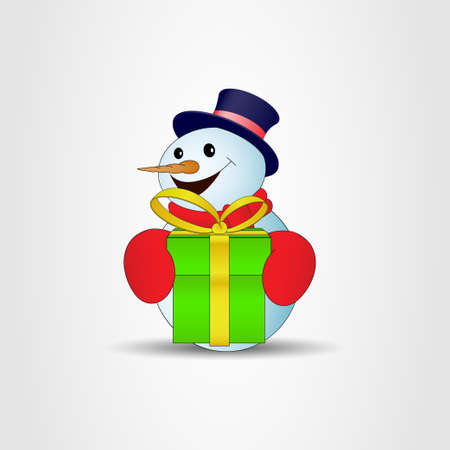 Positive cartoon snowman with green gift box on a gray background. Vector illustration
