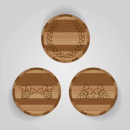 Brown Wooden barrel for whiskey, wine, beer on gray background. The view from the top. With symbols. Vector illustration