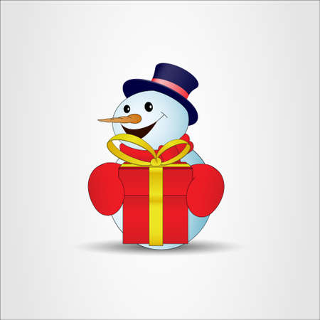 Positive cartoon snowman with red gift box on a gray background. Vector illustration