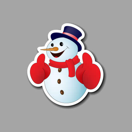 Card with positive cartoon snowman on gray background. Vector illustration