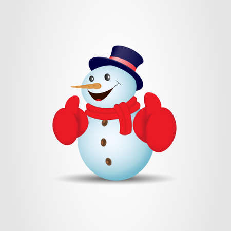 Positive snowman on gray background. Vector illustration  イラスト・ベクター素材