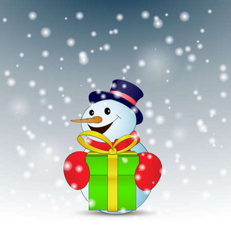 Positive cartoon snowman with green gift box with snow. Vector illustration