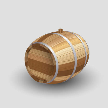 Brown Wooden barrel for whiskey, wine, beer on gray background. Vector illustration.jpg