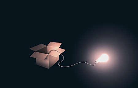 상자 밖에서 생각 스톡 사진