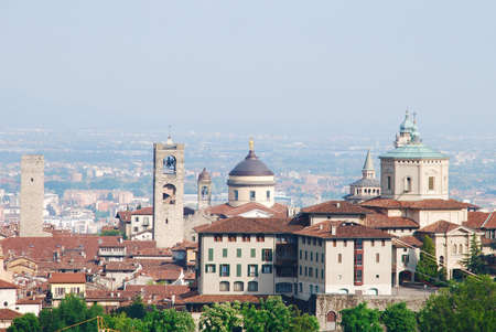Panoramic View of Città  alta from San Vigilio, Bergamo - Italy  photo